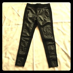 Faux leather front panel leggings